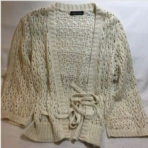 Dolce Cabo Cream Wrap Sweater Size Medium